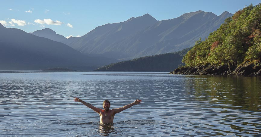 Swimming in Lake Manapouri